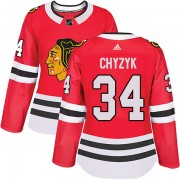 Adidas Chicago Blackhawks 34 Bryn Chyzyk Authentic Red Home Women's NHL Jersey
