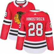 Adidas Chicago Blackhawks 28 Vinnie Hinostroza Authentic Red Home Women's NHL Jersey
