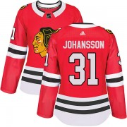 Adidas Chicago Blackhawks 31 Lars Johansson Authentic Red Home Women's NHL Jersey