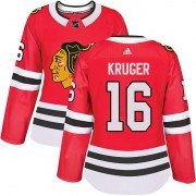 Adidas Chicago Blackhawks 16 Marcus Kruger Authentic Red Home Women's NHL Jersey