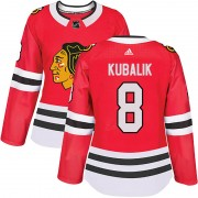 Adidas Chicago Blackhawks 8 Dominik Kubalik Authentic Red Home Women's NHL Jersey