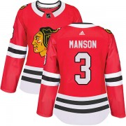 Adidas Chicago Blackhawks 3 Dave Manson Authentic Red Home Women's NHL Jersey
