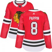 Adidas Chicago Blackhawks 8 Jim Pappin Authentic Red Home Women's NHL Jersey