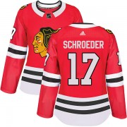 Adidas Chicago Blackhawks 17 Jordan Schroeder Authentic Red Home Women's NHL Jersey