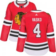 Adidas Chicago Blackhawks 4 Elmer Vasko Authentic Red Home Women's NHL Jersey