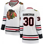 Fanatics Branded Chicago Blackhawks 30 Murray Bannerman White Breakaway Away Women's NHL Jersey