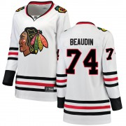 Fanatics Branded Chicago Blackhawks 74 Nicolas Beaudin White ized Breakaway Away Women's NHL Jersey