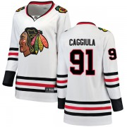 Fanatics Branded Chicago Blackhawks 91 Drake Caggiula White Breakaway Away Women's NHL Jersey
