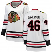 Fanatics Branded Chicago Blackhawks 46 Jonathan Carlsson White Breakaway Away Women's NHL Jersey
