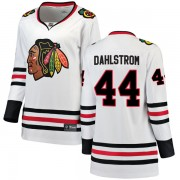 Fanatics Branded Chicago Blackhawks 44 John Dahlstrom White Breakaway Away Women's NHL Jersey