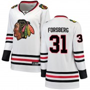 Fanatics Branded Chicago Blackhawks 31 Anton Forsberg White Breakaway Away Women's NHL Jersey