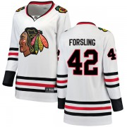 Fanatics Branded Chicago Blackhawks 42 Gustav Forsling White Breakaway Away Women's NHL Jersey