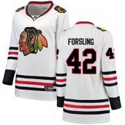 Fanatics Branded Chicago Blackhawks 42 Gustav Forsling White Breakaway Away Women's NHL Jersey