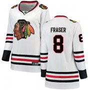 Fanatics Branded Chicago Blackhawks 8 Curt Fraser White Breakaway Away Women's NHL Jersey