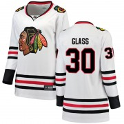 Fanatics Branded Chicago Blackhawks 30 Jeff Glass White Breakaway Away Women's NHL Jersey