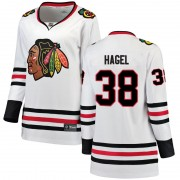 Fanatics Branded Chicago Blackhawks 38 Brandon Hagel White Breakaway Away Women's NHL Jersey
