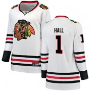 Fanatics Branded Chicago Blackhawks 1 Glenn Hall White Breakaway Away Women's NHL Jersey