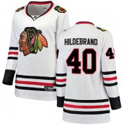 Fanatics Branded Chicago Blackhawks 40 Jake Hildebrand White Breakaway Away Women's NHL Jersey