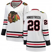 Fanatics Branded Chicago Blackhawks 28 Vinnie Hinostroza White Breakaway Away Women's NHL Jersey