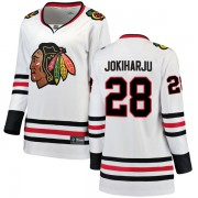 Fanatics Branded Chicago Blackhawks 28 Henri Jokiharju White Breakaway Away Women's NHL Jersey