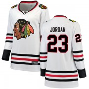 Fanatics Branded Chicago Blackhawks 23 Michael Jordan White Breakaway Away Women's NHL Jersey
