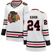 Fanatics Branded Chicago Blackhawks 24 Dominik Kahun White Breakaway Away Women's NHL Jersey
