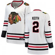 Fanatics Branded Chicago Blackhawks 2 Duncan Keith White Breakaway Away Women's NHL Jersey