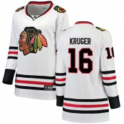 Fanatics Branded Chicago Blackhawks 16 Marcus Kruger White Breakaway Away Women's NHL Jersey