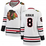 Fanatics Branded Chicago Blackhawks 8 Dominik Kubalik White Breakaway Away Women's NHL Jersey