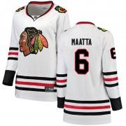 Fanatics Branded Chicago Blackhawks 6 Olli Maatta White Breakaway Away Women's NHL Jersey