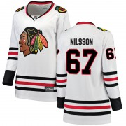 Fanatics Branded Chicago Blackhawks 67 Jacob Nilsson White Breakaway Away Women's NHL Jersey