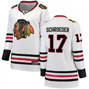 Fanatics Branded Chicago Blackhawks 17 Jordan Schroeder White Breakaway Away Women's NHL Jersey