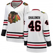 Fanatics Branded Chicago Blackhawks 46 Maxim Shalunov White Breakaway Away Women's NHL Jersey