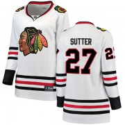 Fanatics Branded Chicago Blackhawks 27 Darryl Sutter White Breakaway Away Women's NHL Jersey