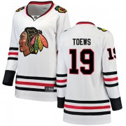 Fanatics Branded Chicago Blackhawks 19 Jonathan Toews White Breakaway Away Women's NHL Jersey