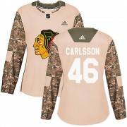 Adidas Chicago Blackhawks 46 Jonathan Carlsson Authentic Camo Veterans Day Practice Women's NHL Jersey