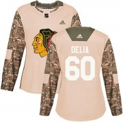 Adidas Chicago Blackhawks 60 Collin Delia Authentic Camo Veterans Day Practice Women's NHL Jersey