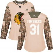 Adidas Chicago Blackhawks 31 Anton Forsberg Authentic Camo Veterans Day Practice Women's NHL Jersey