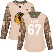 Adidas Chicago Blackhawks 67 Tanner Kero Authentic Camo Veterans Day Practice Women's NHL Jersey
