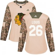 Adidas Chicago Blackhawks 26 Anthony Louis Authentic Camo Veterans Day Practice Women's NHL Jersey