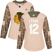 Adidas Chicago Blackhawks 12 Tom Lysiak Authentic Camo Veterans Day Practice Women's NHL Jersey
