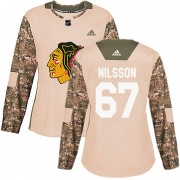 Adidas Chicago Blackhawks 67 Jacob Nilsson Authentic Camo Veterans Day Practice Women's NHL Jersey