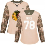Adidas Chicago Blackhawks 78 Nathan Noel Authentic Camo Veterans Day Practice Women's NHL Jersey