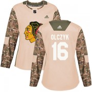 Adidas Chicago Blackhawks 16 Ed Olczyk Authentic Camo Veterans Day Practice Women's NHL Jersey