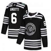 Adidas Chicago Blackhawks 6 Lou Angotti Authentic Black 2019 Winter Classic Youth NHL Jersey