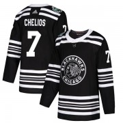 Adidas Chicago Blackhawks 7 Chris Chelios Authentic Black 2019 Winter Classic Youth NHL Jersey