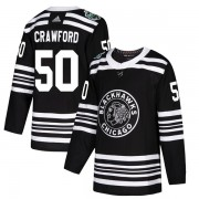 Adidas Chicago Blackhawks 50 Corey Crawford Authentic Black 2019 Winter Classic Youth NHL Jersey