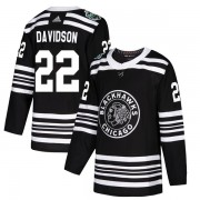 Adidas Chicago Blackhawks 22 Brandon Davidson Authentic Black 2019 Winter Classic Youth NHL Jersey