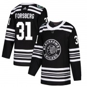 Adidas Chicago Blackhawks 31 Anton Forsberg Authentic Black 2019 Winter Classic Youth NHL Jersey