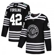 Adidas Chicago Blackhawks 42 Gustav Forsling Authentic Black 2019 Winter Classic Youth NHL Jersey